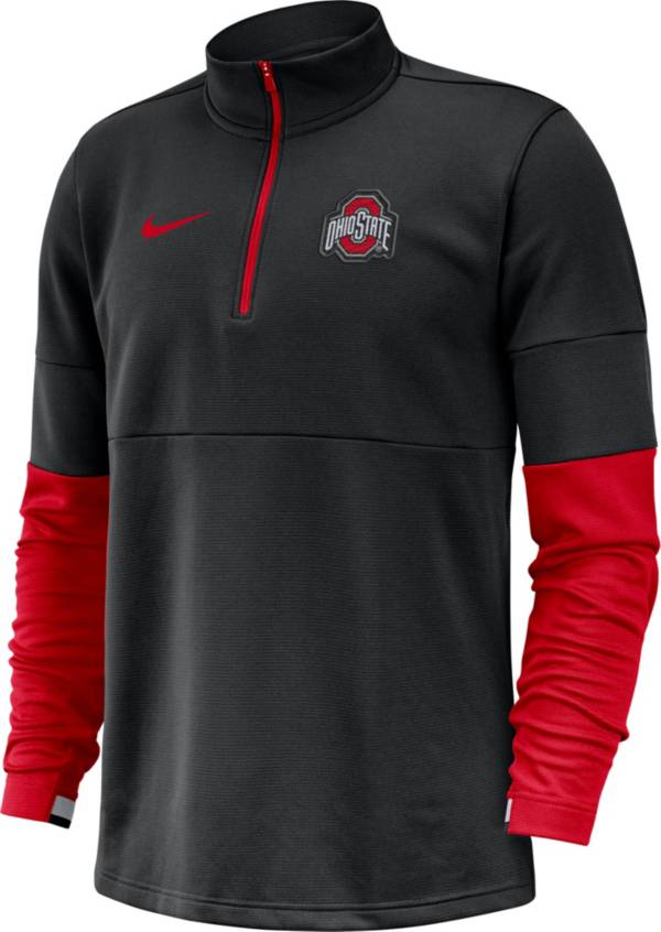 Nike Men's Ohio State Buckeyes Football Sideline Therma-FIT Half-Zip Black Shirt product image