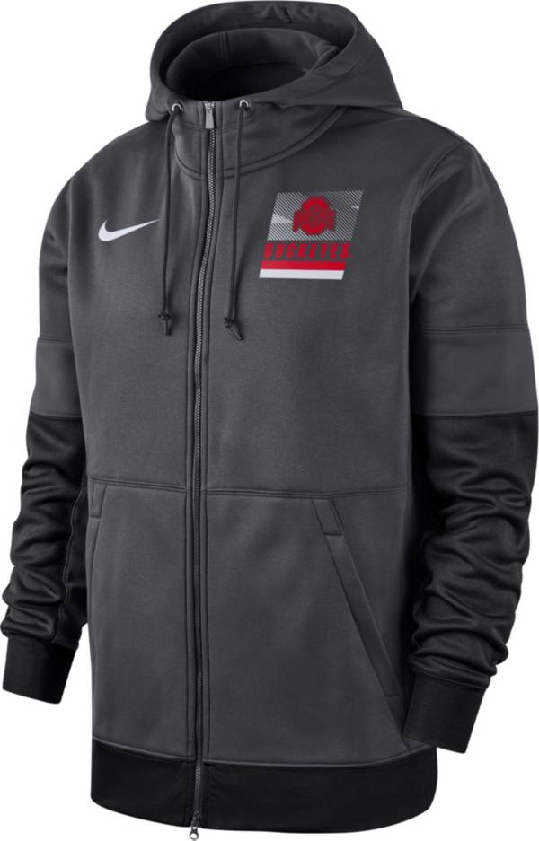 Nike Men's Ohio State Buckeyes Gray Therma Football Sideline Full-Zip Hoodie product image