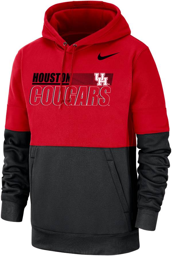 Nike Men's Houston Cougars Red/Black Therma Football Sideline Performance Pullover Hoodie product image
