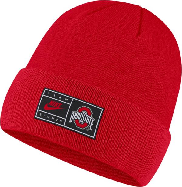 Nike Men's Ohio State Buckeyes Scarlet Throwback Patch Cuffed Knit Beanie product image