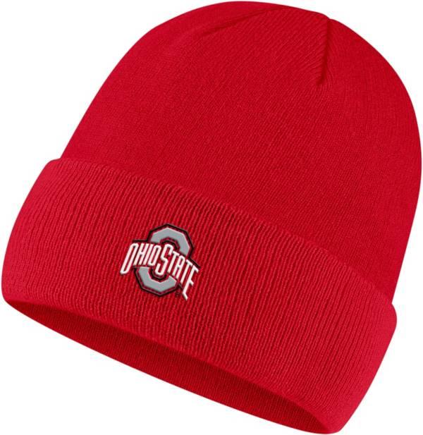 Nike Men's Ohio State Buckeyes Scarlet Cuffed Pom Knit Beanie product image