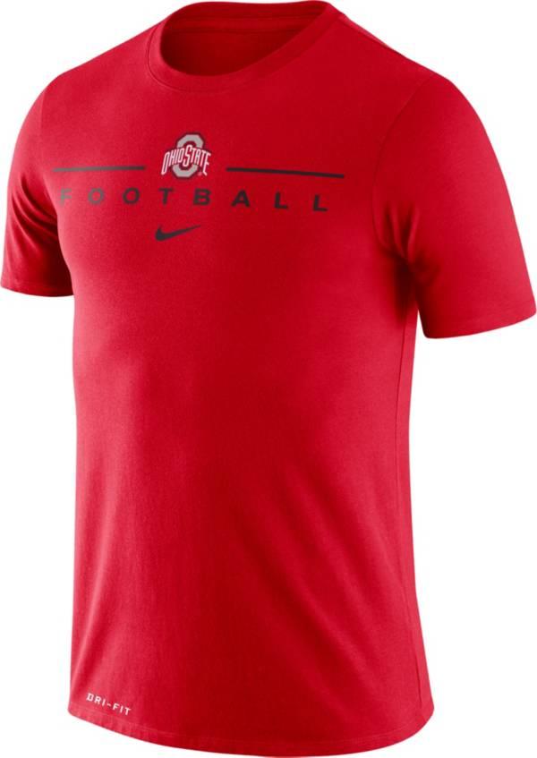 Nike Men's Ohio State Buckeyes Scarlet Dri-FIT Cotton Football T-Shirt product image