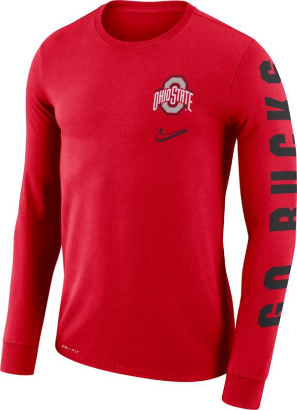 Nike Men's Ohio State Buckeyes Scarlet 'Go Bucks' Mantra Long Sleeve T-Shirt product image