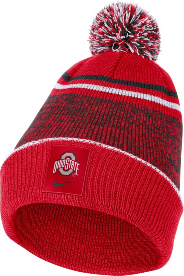 Nike Men's Ohio State Buckeyes Scarlet Football Sideline Cuffed Pom Beanie product image