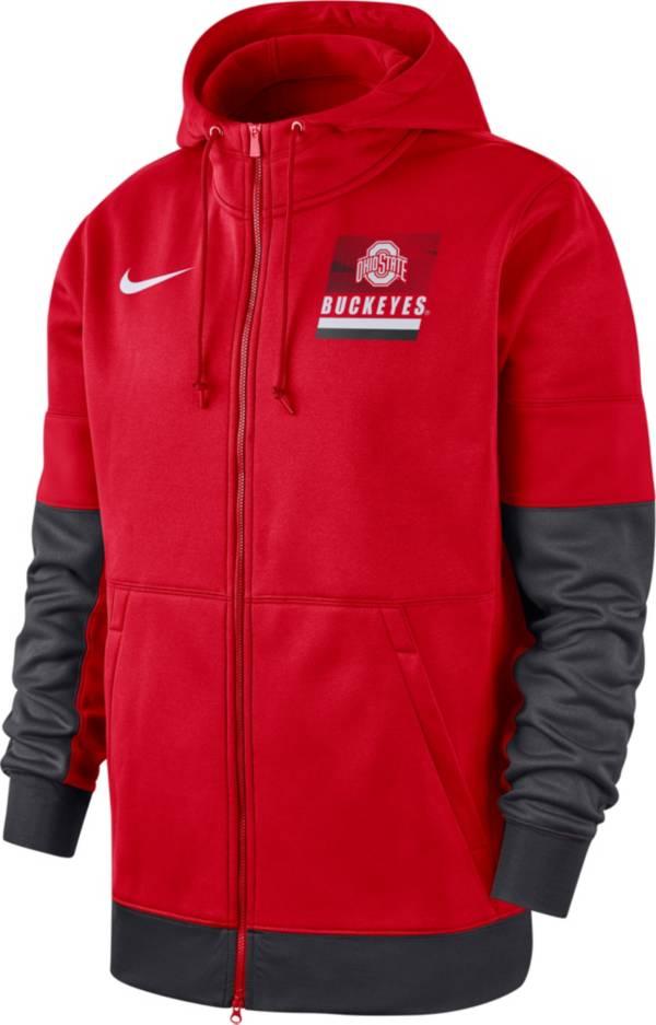 Nike Men's Ohio State Buckeyes Scarlet Therma Football Sideline Full-Zip Hoodie product image