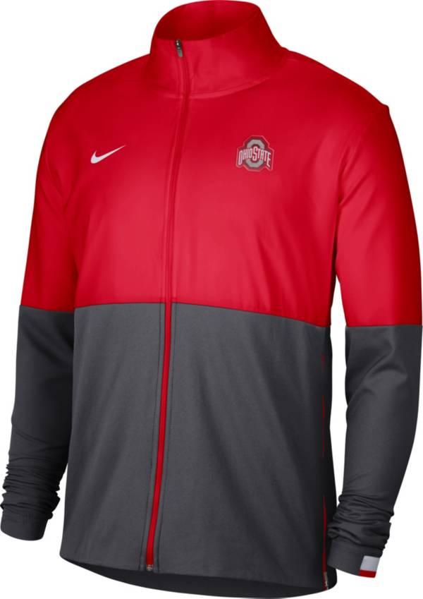 Nike Men's Ohio State Buckeyes Scarlet/Gray Colorblock Woven Full-Zip Jacket product image