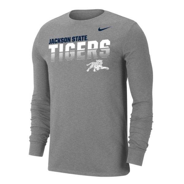 Nike Men's Jackson State Tigers  Grey Dri-FIT Cotton Long Sleeve T-Shirt product image