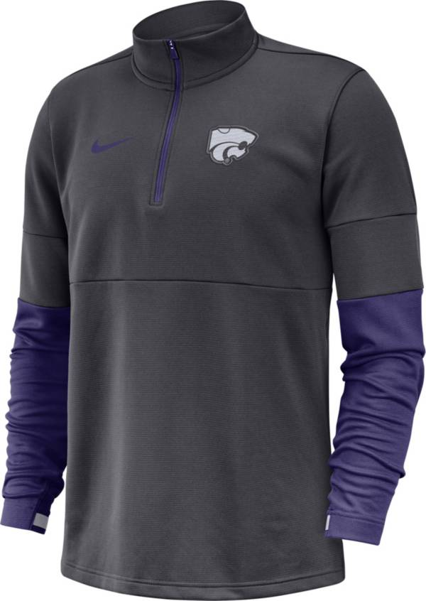 Nike Men's Kansas State Wildcats Grey Football Sideline Therma-FIT Half-Zip Pullover Shirt product image