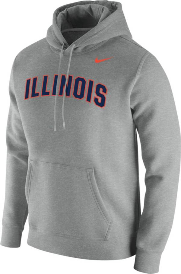Nike Men's Illinois Fighting Illini Grey Club Fleece Pullover Hoodie product image
