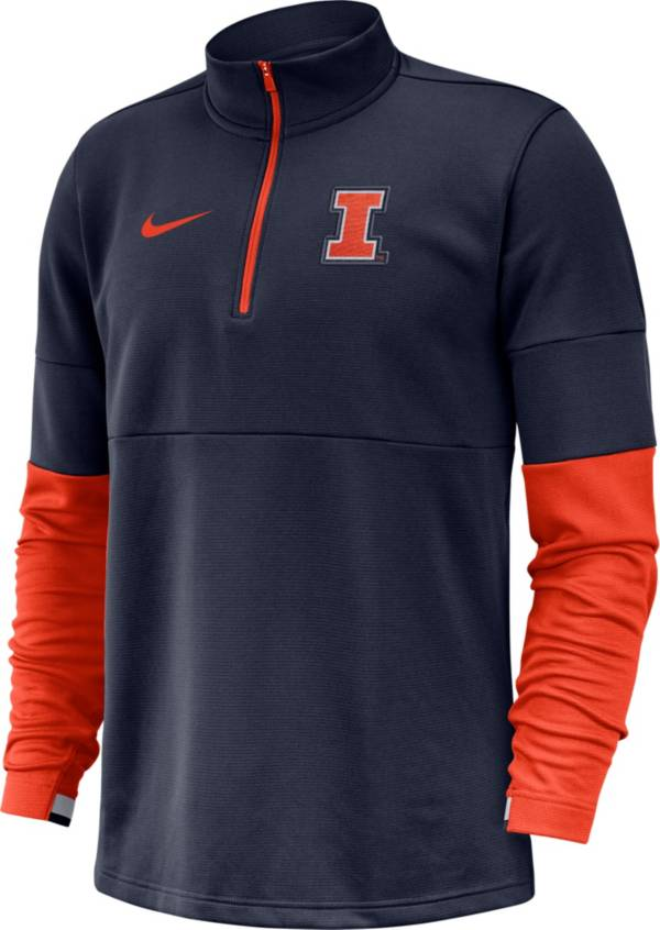 Nike Men's Illinois Fighting Illini Blue Football Sideline Therma-FIT Half-Zip Pullover Shirt product image