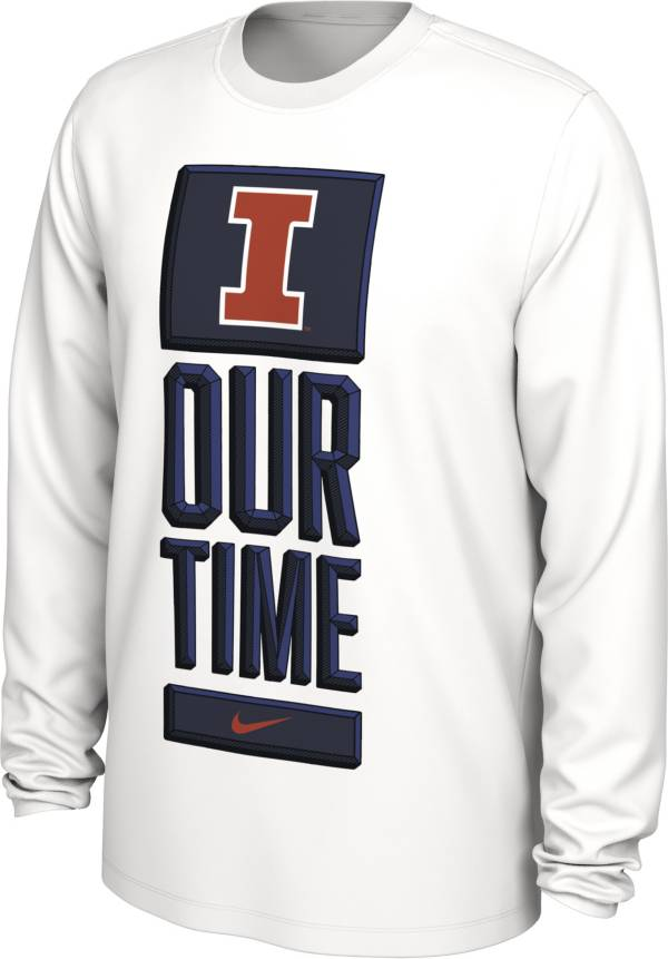 Nike Men's Illinois Fighting Illini 'Our Time' Bench Long Sleeve White T-Shirt product image
