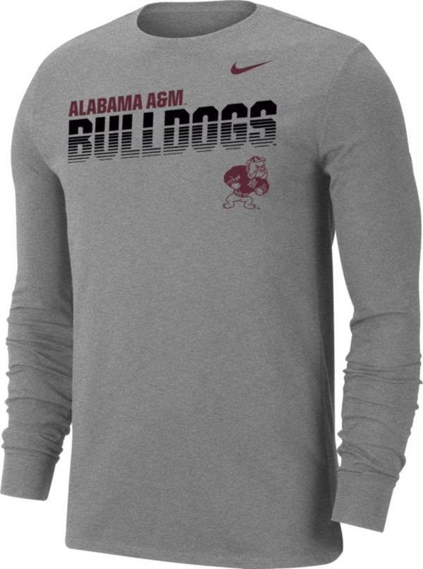 Nike Men's Alabama A&M Bulldogs Grey Dri-FIT Cotton Long Sleeve T-Shirt product image