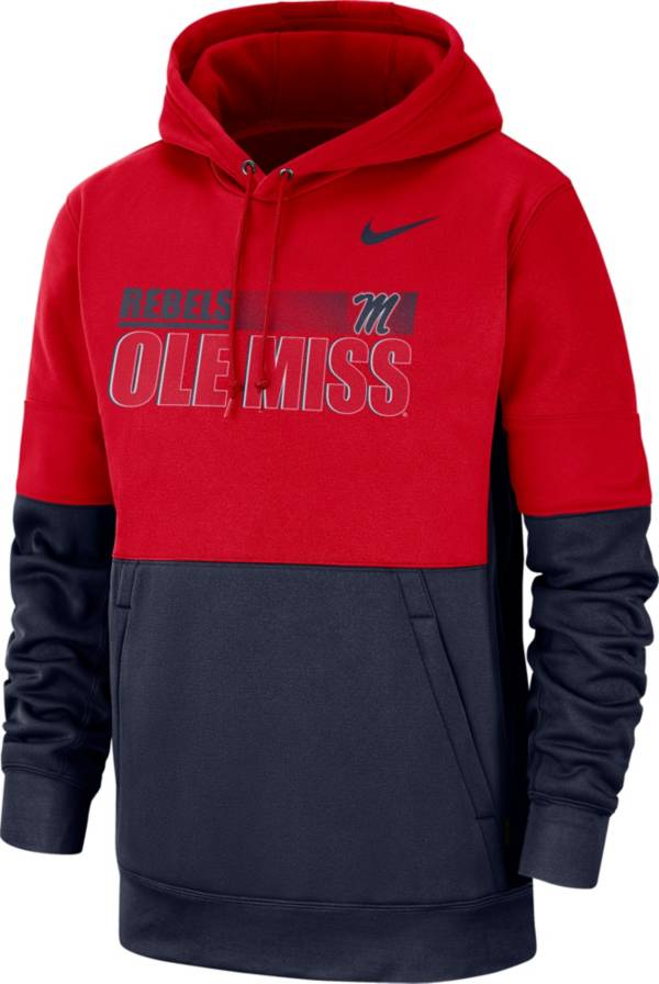 Nike Men's Ole Miss Rebels Red Therma-FIT Sideline Fleece Football Hoodie product image