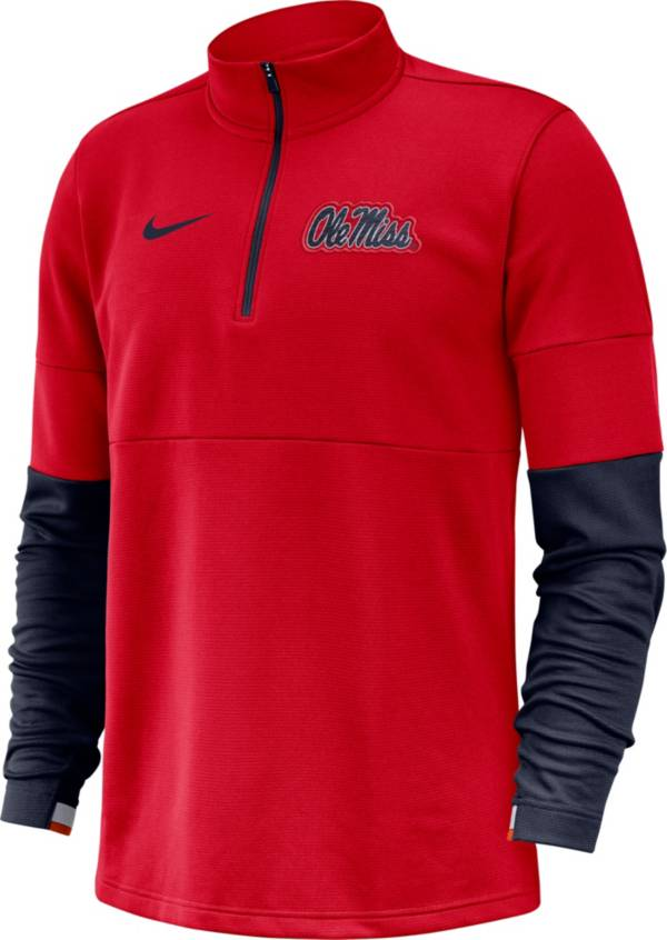 Nike Men's Ole Miss Rebels Red Football Sideline Therma-FIT Half-Zip Pullover Shirt product image