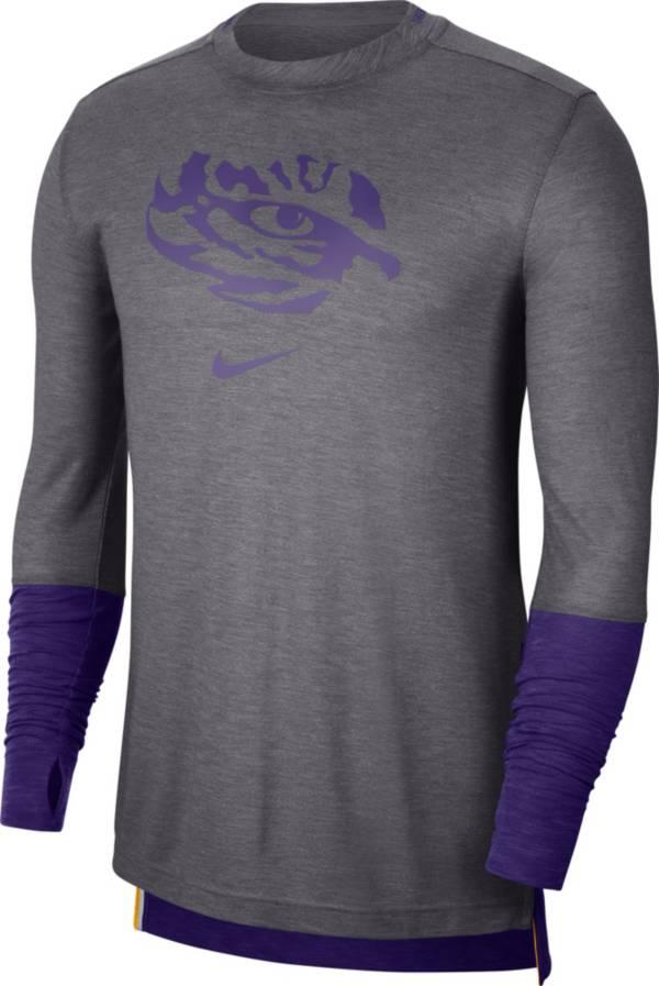 Nike Men's LSU Tigers Grey Football Sideline Player Breathe Long Sleeve T-Shirt product image