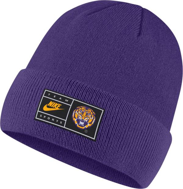 Nike Men's LSU Tigers Purple Throwback Patch Cuffed Knit Beanie product image