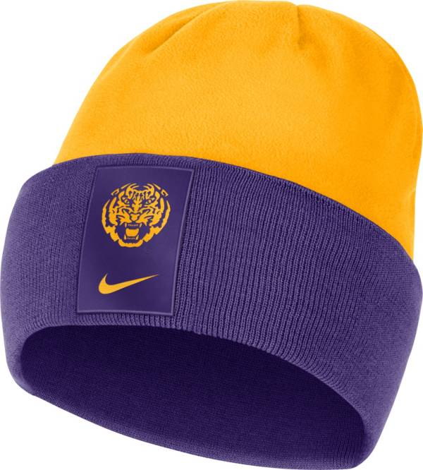 Nike Men's LSU Tigers Purple/Gold Dri-FIT Football Sideline Cuffed Knit Beanie product image