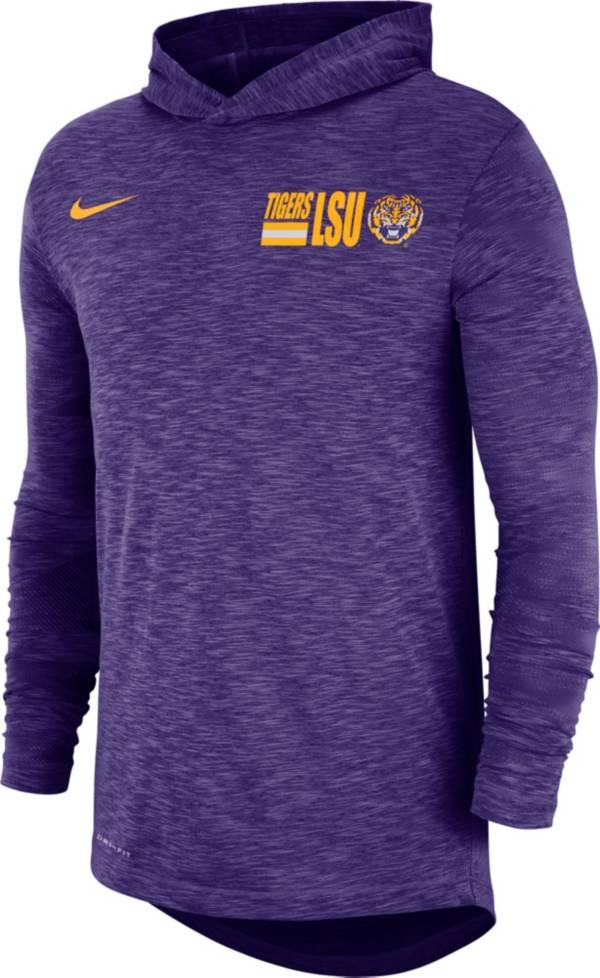 Nike Men's LSU Tigers Purple Dri-FIT Slub Long Sleeve Hooded T-Shirt product image