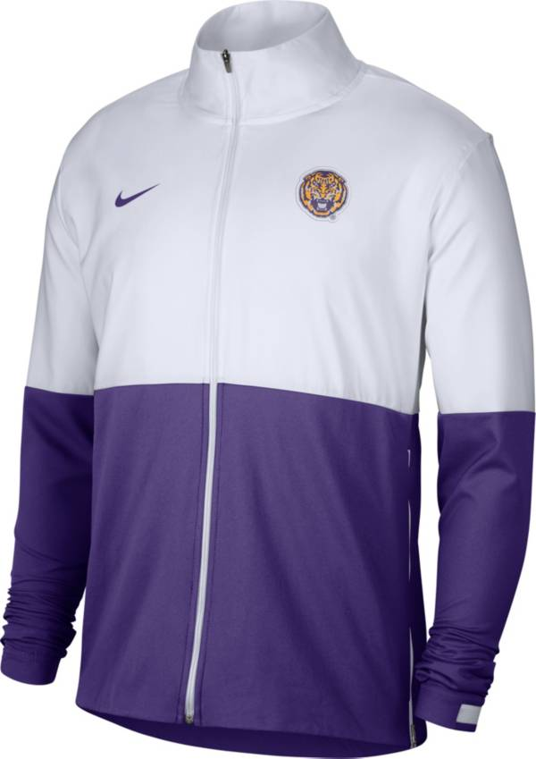 Nike Men's LSU Tigers White/Purple Colorblock Woven Full-Zip Jacket product image