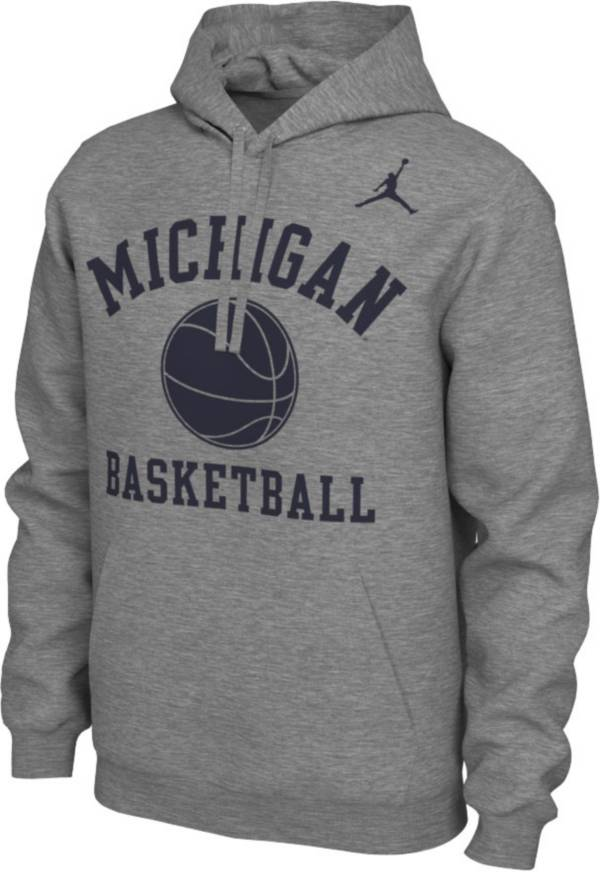 Nike Men's Michigan Wolverines Grey Pullover Basketball Hoodie product image