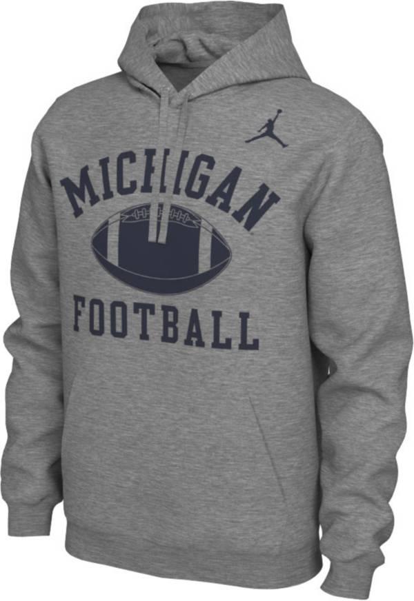 Nike Men's Michigan Wolverines Grey Pullover Football Hoodie product image