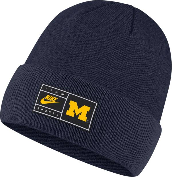 Nike Men's Michigan Wolverines Blue Throwback Patch Cuffed Knit Beanie product image