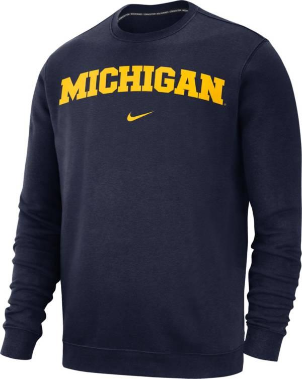 Nike Men's Michigan Wolverines Blue Club Fleece Crew Neck Sweatshirt product image