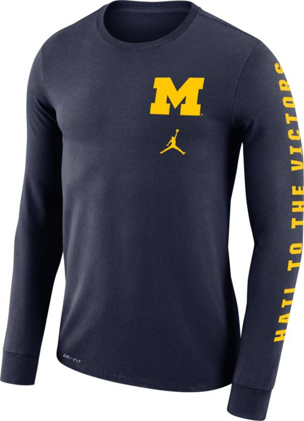 Jordan Men's Michigan Wolverines Blue 'Hail to the Victors' Mantra Long Sleeve T-Shirt product image