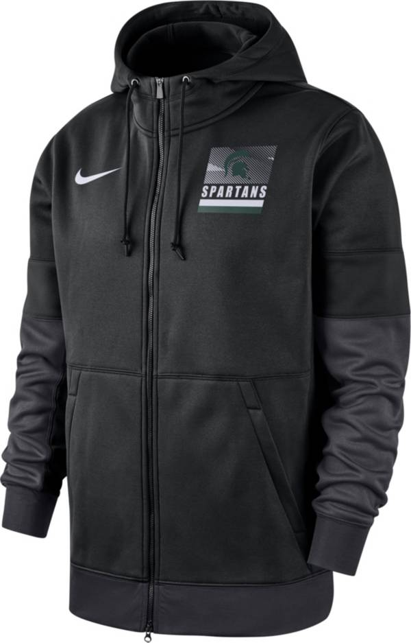 Nike Men's Michigan State Spartans Therma Football Sideline Full-Zip Black Hoodie product image