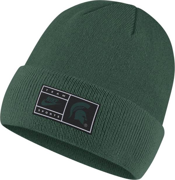 Nike Men's Michigan State Spartans Green Throwback Patch Cuffed Knit Beanie product image