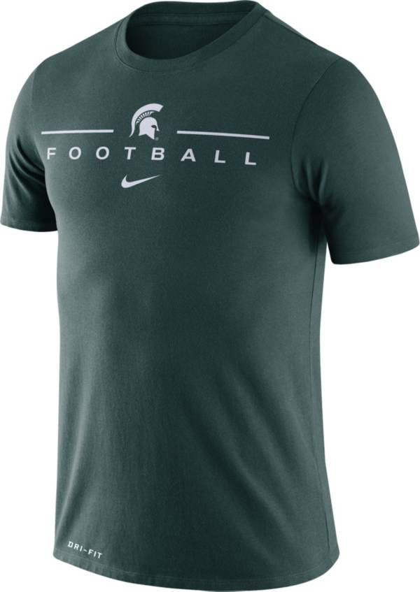 Nike Men's Michigan State Spartans Green Dri-FIT Cotton Football T-Shirt product image