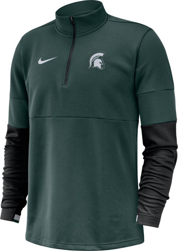 Nike Men's Michigan State Spartans Green Football Sideline Therma-FIT Half-Zip Shirt product image