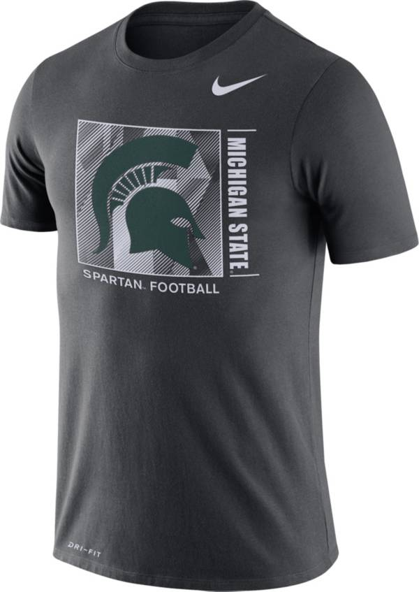 Nike Men's Michigan State Spartans Grey Team Issue Logo Football T-Shirt product image