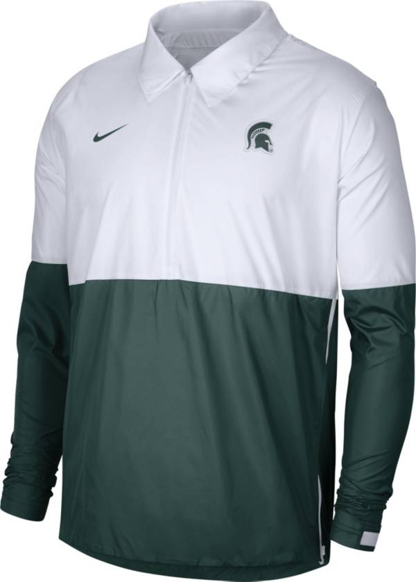 Nike Men's Michigan State Spartans White/Green Lightweight Football Coach's Jacket product image