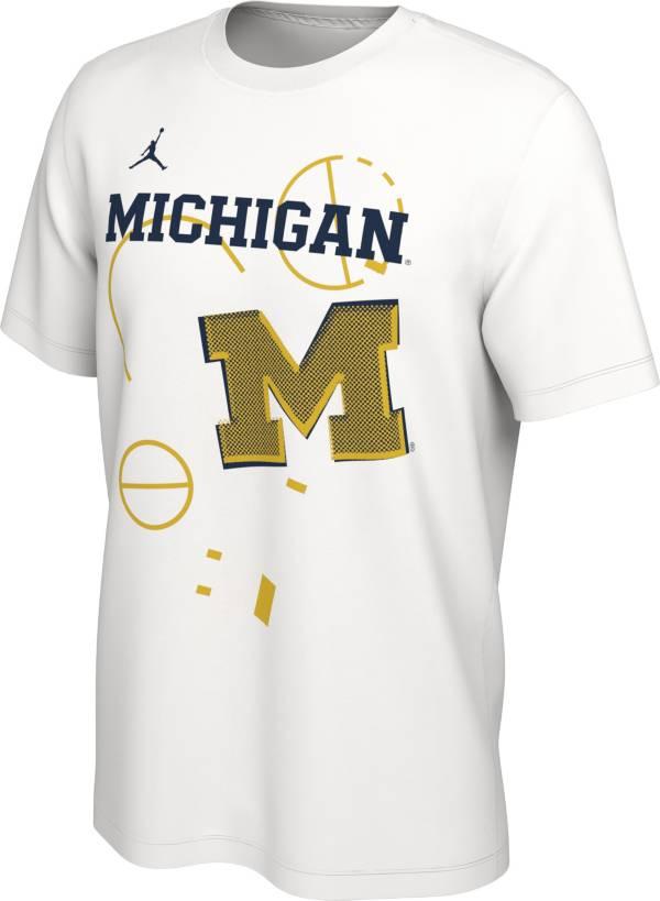Jordan Men's Michigan Wolverines Bench White T-Shirt product image