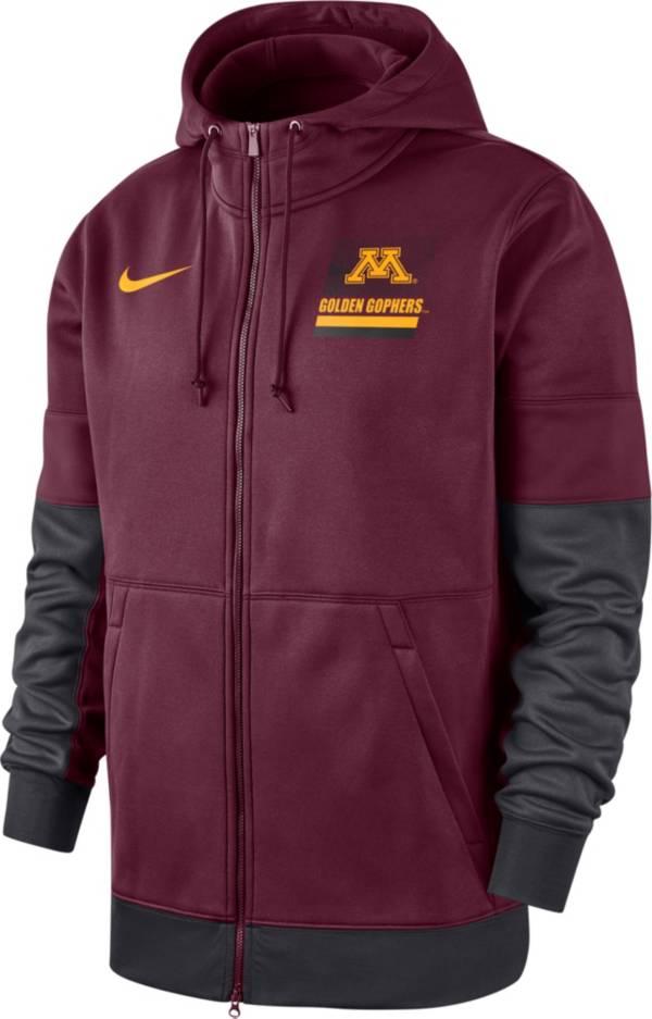 Nike Men's Minnesota Golden Gophers Maroon Therma Football Sideline Full-Zip Hoodie product image