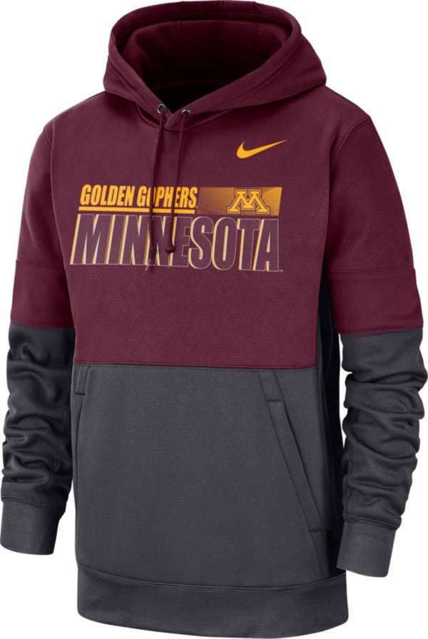 Nike Men's Minnesota Golden Gophers Maroon Therma-FIT Sideline Fleece Football Hoodie product image
