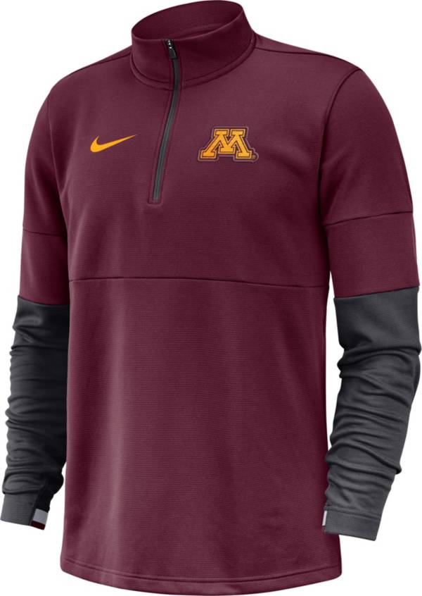 Nike Men's Minnesota Golden Gophers Maroon Football Sideline Therma-FIT Half-Zip Pullover Shirt product image
