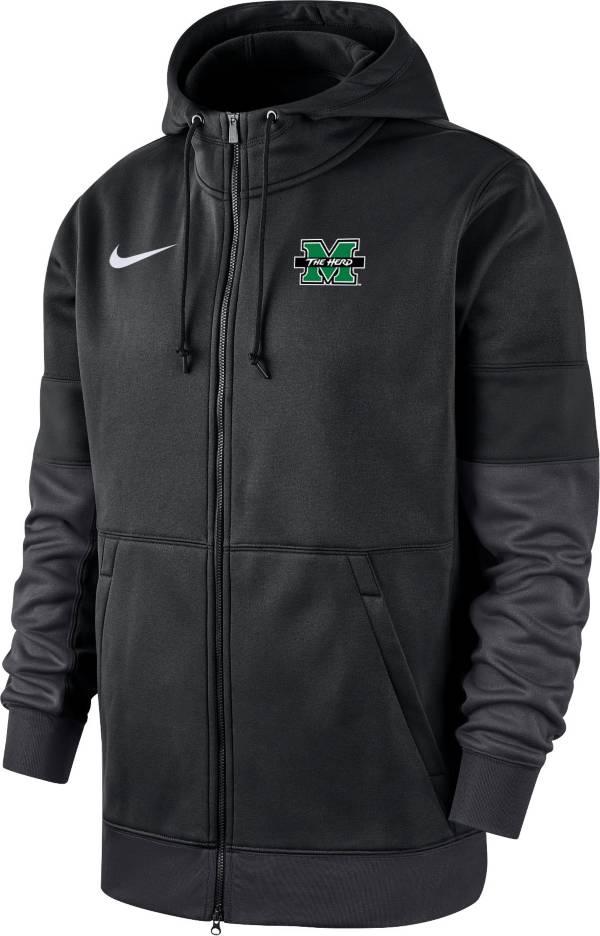Nike Men's Marshall Thundering Herd Therma-FIT Full-Zip Black Hoodie product image