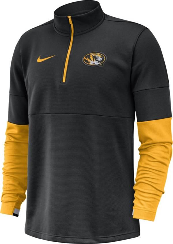 Nike Men's Missouri Tigers Football Sideline Therma-FIT Black Half-Zip  Shirt product image