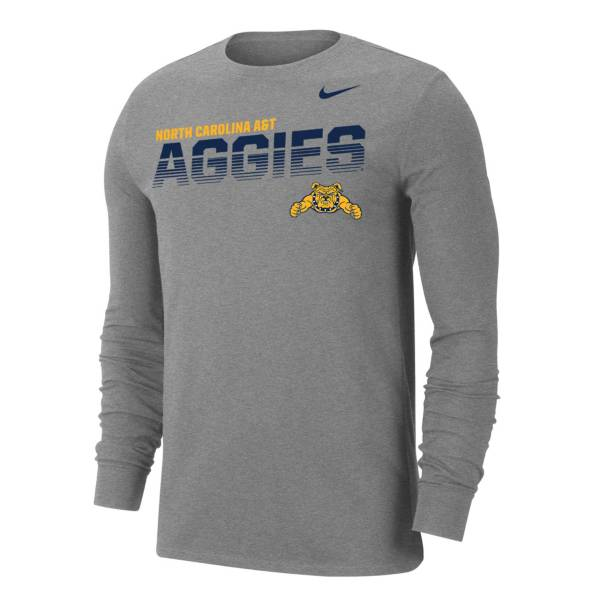 Nike Men's North Carolina A&T Aggies  Grey Dri-FIT Cotton Long Sleeve T-Shirt product image