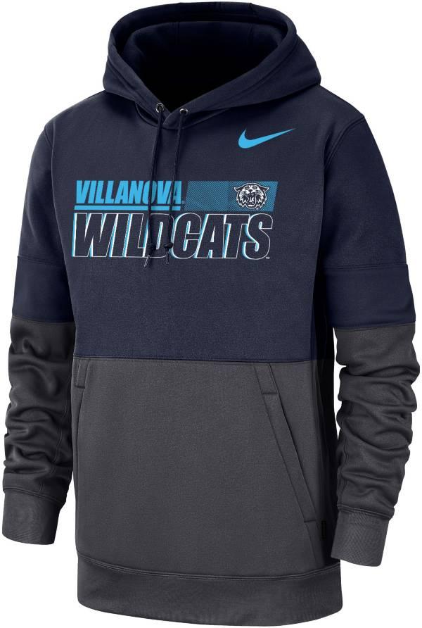 Nike Men's Villanova Wildcats Navy/Grey Therma Football Sideline Performance Pullover Hoodie product image