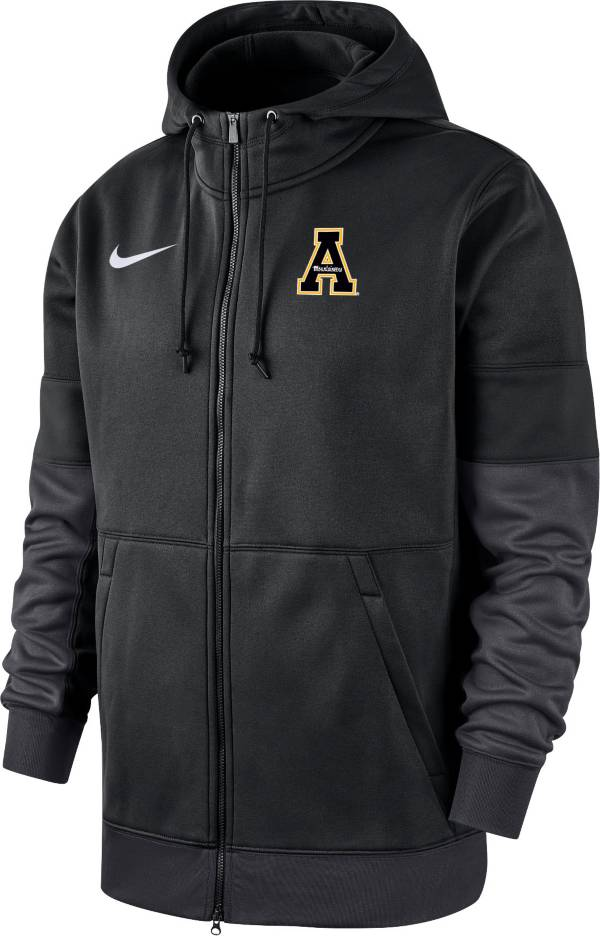 Nike Men's Appalachian State Mountaineers Therma-FIT Full-Zip Black Hoodie product image