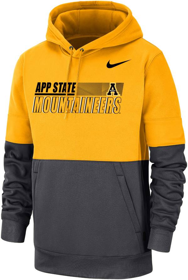 Nike Men's Appalachian State Mountaineers Gold/Grey Therma Football Sideline Performance Pullover Hoodie product image