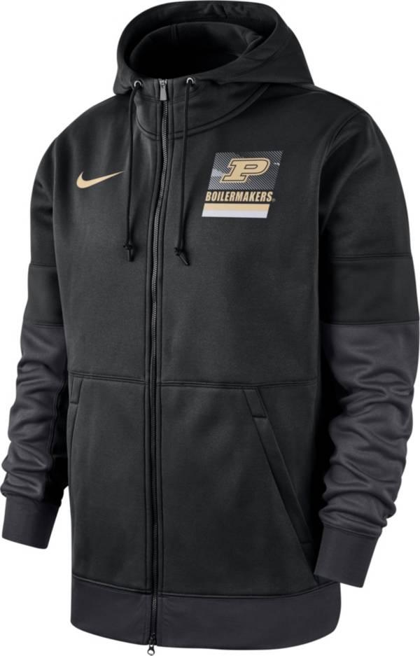 Nike Men's Purdue Boilermakers Therma Football Sideline Full-Zip Black Hoodie product image