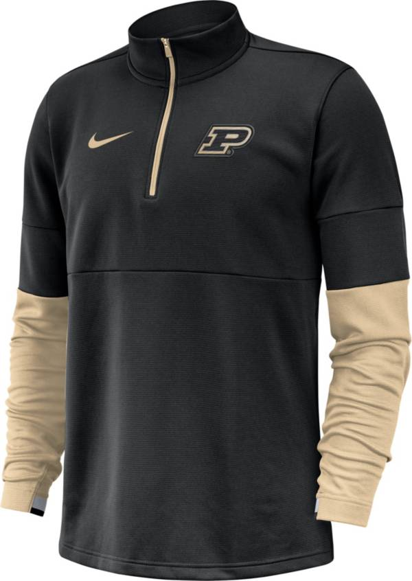Nike Men's Purdue Boilermakers Football Sideline Therma-FIT Black Half-Zip Pullover Shirt product image