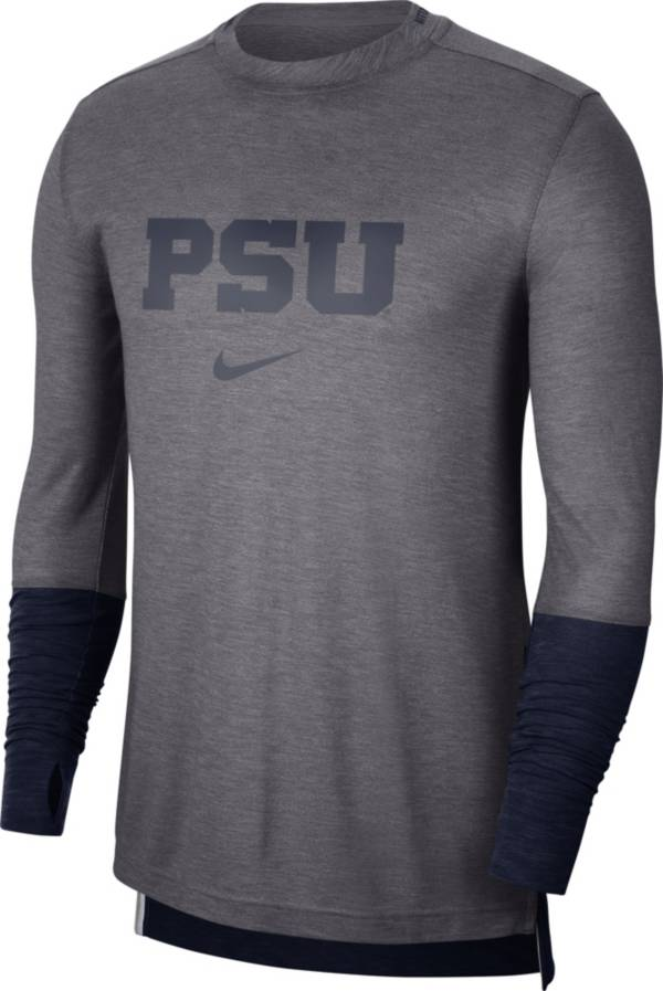 Nike Men's Penn State Nittany Lions Grey Football Sideline Player Breathe Long Sleeve T-Shirt product image