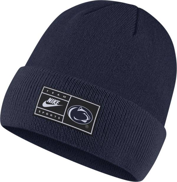 Nike Men's Penn State Nittany Lions Blue Throwback Patch Cuffed Knit Beanie product image