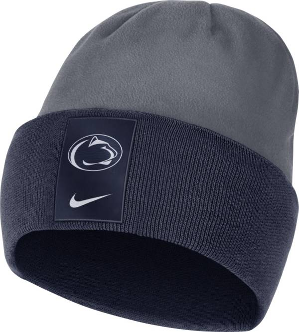 Nike Men's Penn State Nittany Lions Navy/Grey Dri-FIT Football Sideline Cuffed Knit Beanie product image