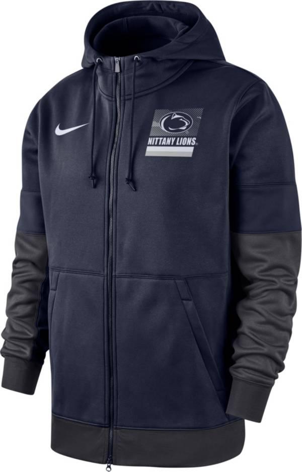 Nike Men's Penn State Nittany Lions Blue Therma Football Sideline Full-Zip Hoodie product image